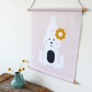 Textielposter Konijn oud roze ANNIdesign 01