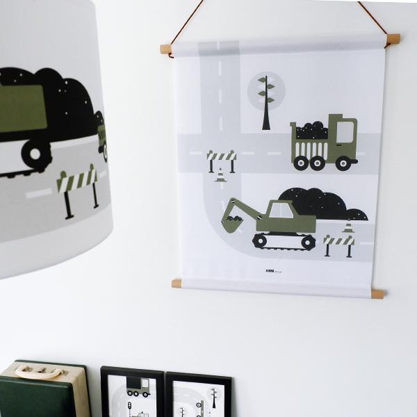 Textielposter Voertuigen Graafmachine olijfgroen ANNIdesign_01