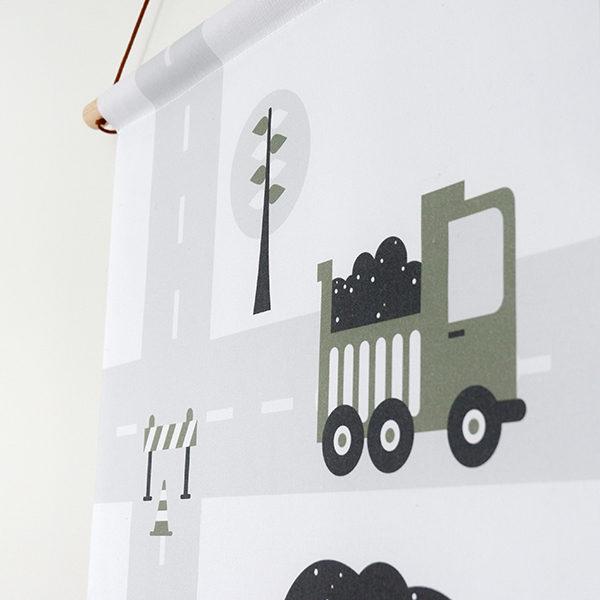 Textielposter Voertuigen Graafmachine olijfgroen ANNIdesign_02