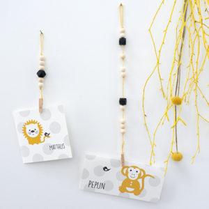 Houten hanger veelvlak touw geel ANNIdesign 01