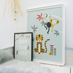 Poster XL Jungle Tijger en Aap old green_ANNIdesign_01