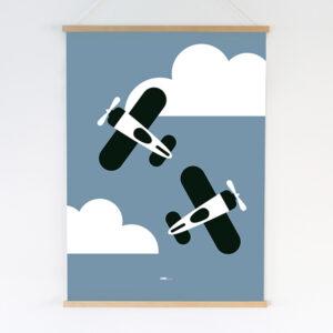 Poster XL Vliegtuig en wolken jeans blauw_ANNIdesign
