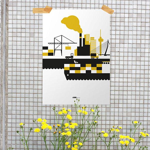 Poster Rotterdam Haven oker geel_ANNIdesign_01