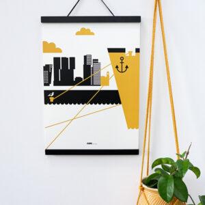 Poster Rotterdam Maas oker geel ANNIdesign 03