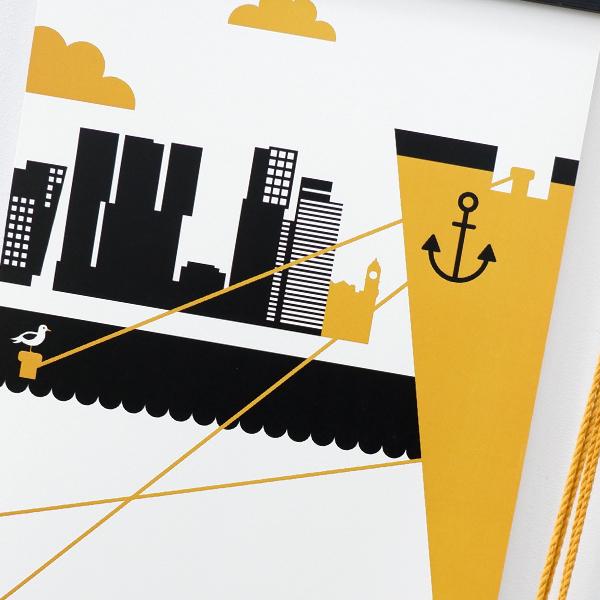 Poster Rotterdam Maas oker geel ANNIdesign 04