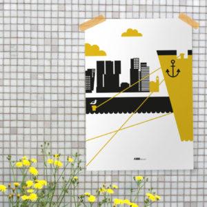 Poster Rotterdam Maas oker geel_ANNIdesign_01