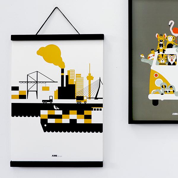 Poster Rotterdam haven oker geel ANNIdesign 03