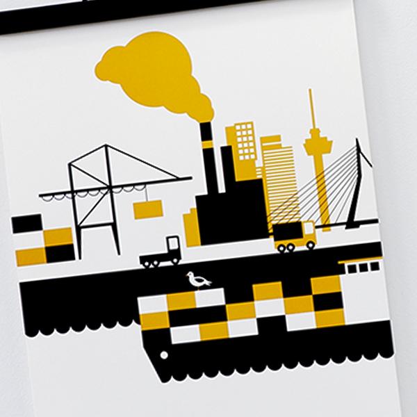 Poster Rotterdam haven oker geel ANNIdesign 04