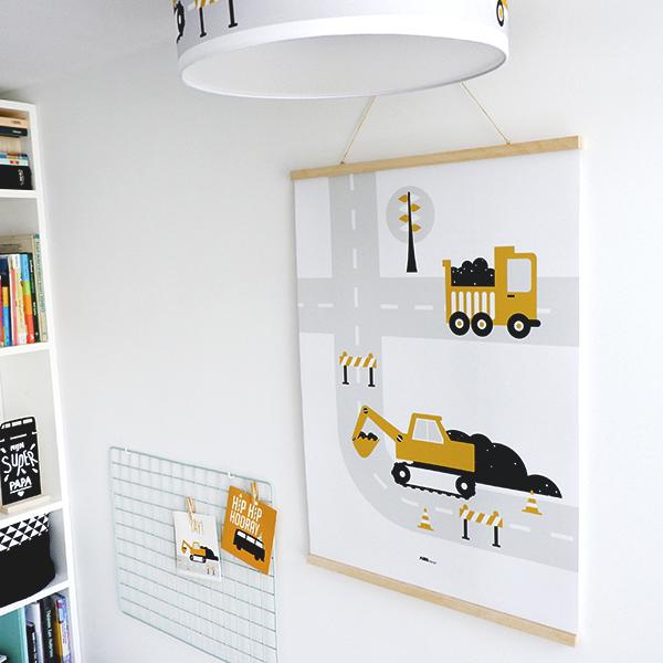 Poster XL_Voertuigen Graafmachine oker_ANNIdesign