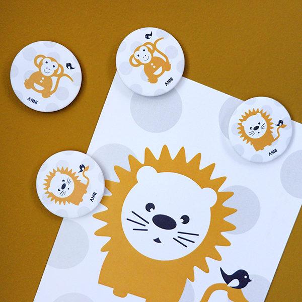 Magneten Leeuw en Aap met stip_ANNIdesign