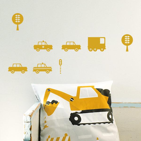 Muurstickers Auto oker geel_ANNIdesign_01