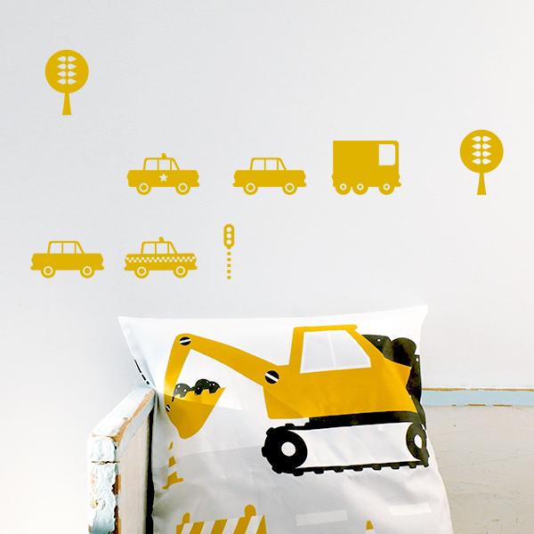 Muurstickers Auto's warm geel ANNIdesign_01