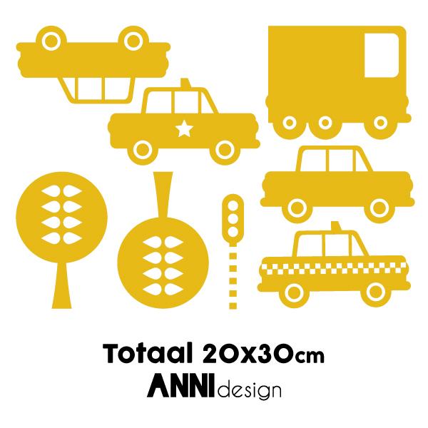 Muurstickers Auto's warm geel ANNIdesign_02