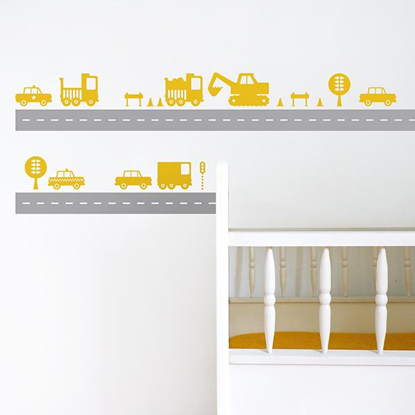 Muurstickers set Voertuigen warm geel ANNIdesign_01