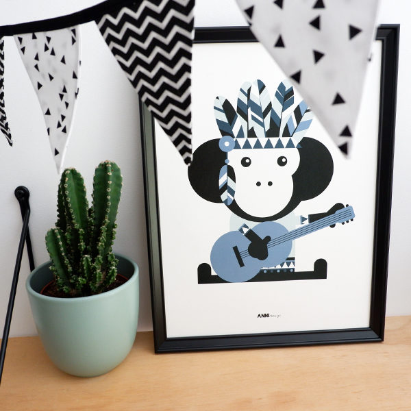 Poster Indiaan Aap jeans blauw ANNIdesign 01