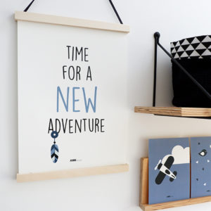 Poster Indiaan New Adventure jeans blauw ANNIdesign 01
