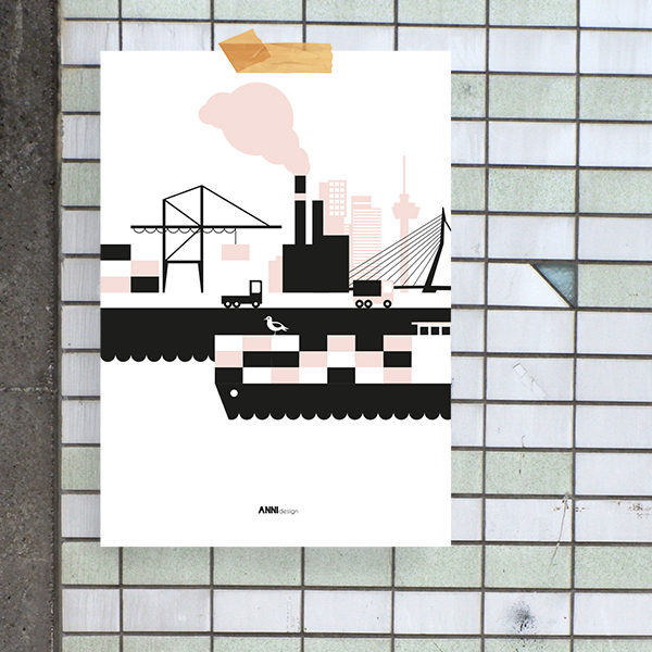 Poster Rotterdam Haven ANNIdesign oud roze_01