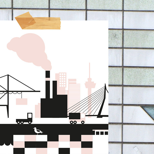 Poster Rotterdam Haven ANNIdesign oud roze_02