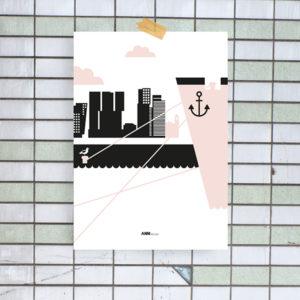 Poster Rotterdam Maas ANNIdesign oud roze_01