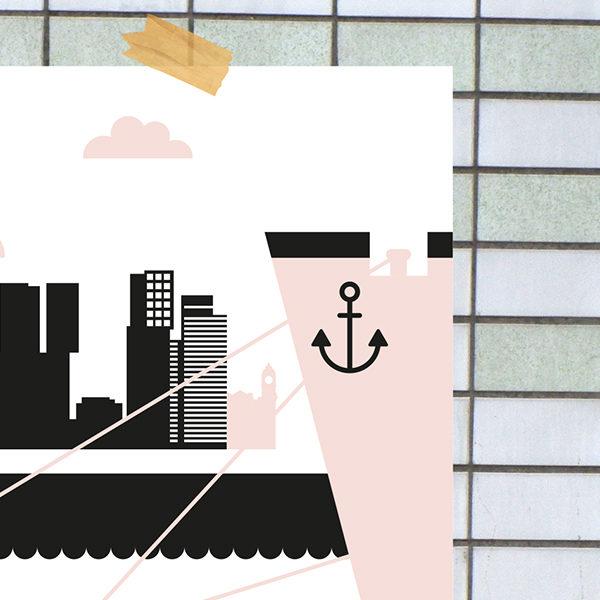Poster Rotterdam Maas ANNIdesign oud roze_02