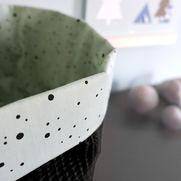 Commodemandje Confetti op Old green_ANNIdesign_Wafelstof zwart_02