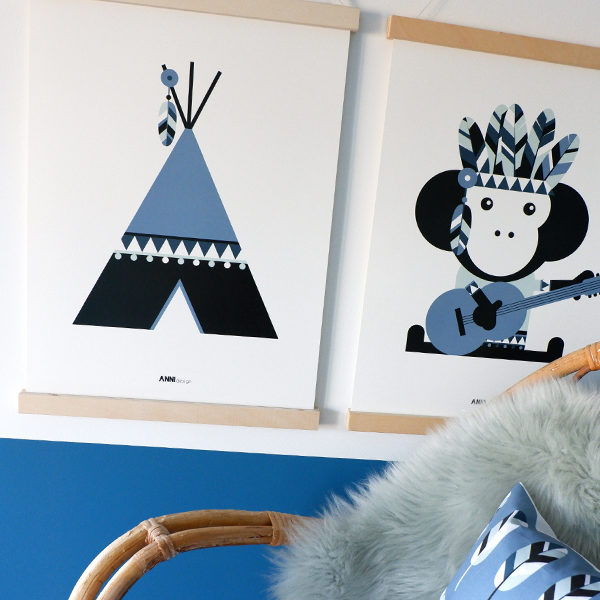 Poster Indiaan Tipi jeans blauw ANNIdesign 01