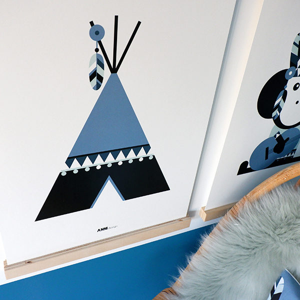 Poster Indiaan Tipi jeans blauw ANNIdesign 02