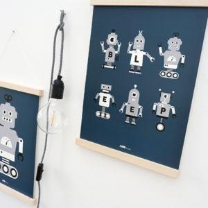 Poster Robot collage ANNIdesign donker blauw 01