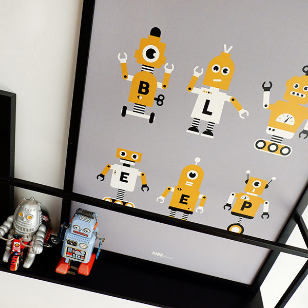 Poster Robot collage ANNIdesign grijs 02