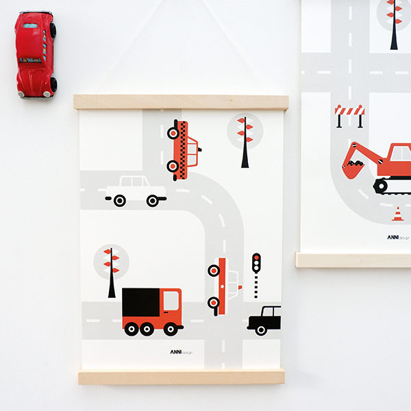 Poster Voertuigen Auto's ANNIdesign terracotta rood 01