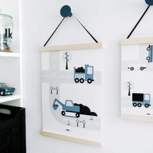 Poster Voertuigen Graafmachine ANNIdesign jeans blauw 03