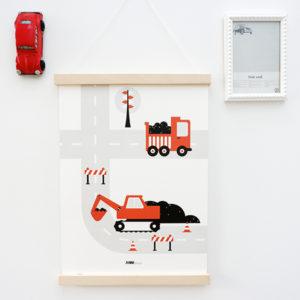 Poster Voertuigen Graafmachine ANNIdesign terracotta rood 01