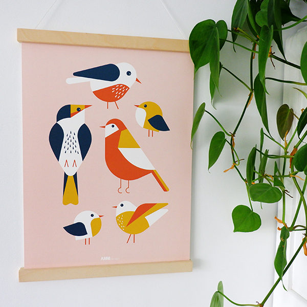 Poster Vogels ANNIdesign oud roze 01