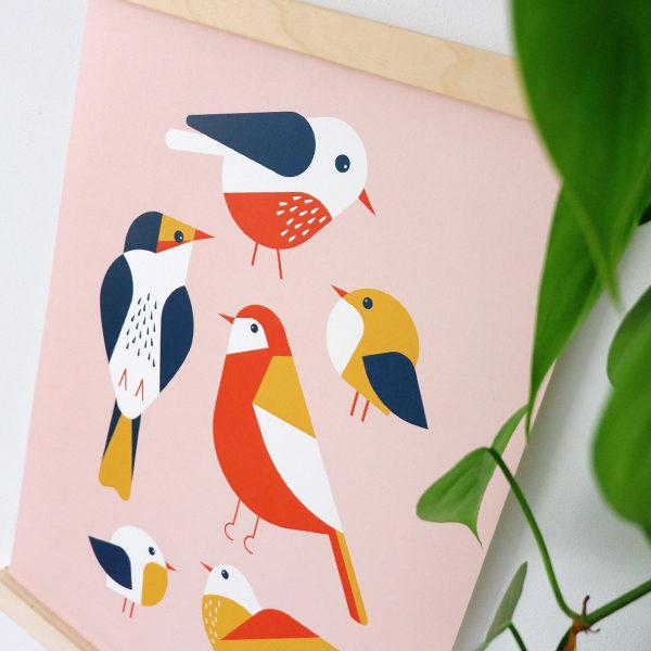 Poster Vogels ANNIdesign oud roze 02
