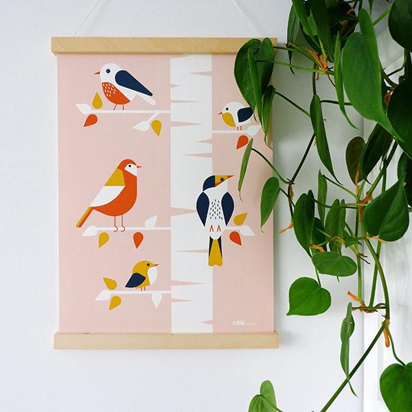 Poster Vogels in boom ANNIdesign oud roze 01