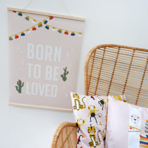 Poster XL Lama Born to be Loved_ANNIdesign roze 01