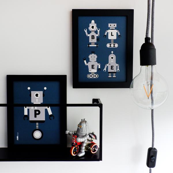 Poster set Robot ANNIdesign donker blauw 01