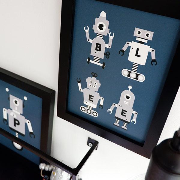 Poster set Robot ANNIdesign donker blauw 02
