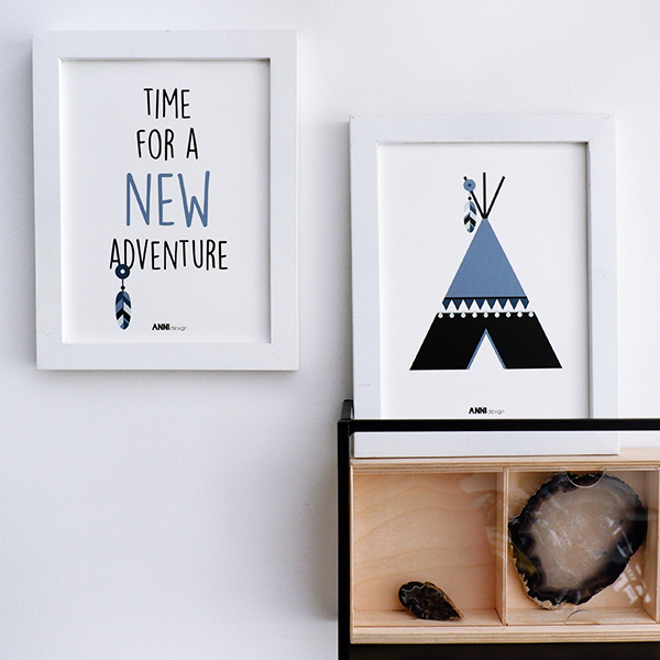 Poster set Tipi New Adventure ANNIdesign jeans blauw 03