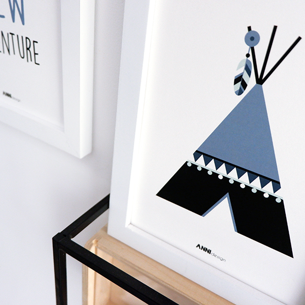 Poster set Tipi New Adventure ANNIdesign jeans blauw 04