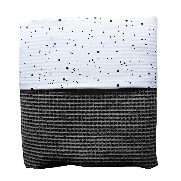 Ledikantdeken Confetti op Wit ANNIdesign Wafelstof donker grijs