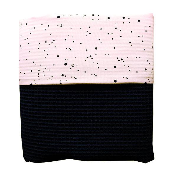 Ledikantdeken Confetti op roze Wafelstof zwart ANNIdesign
