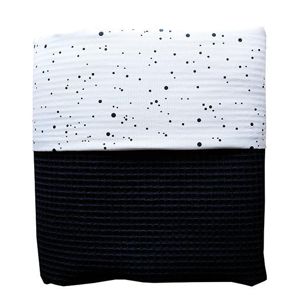Ledikantdeken Confetti op wit met Wafelstof zwart ANNIdesign