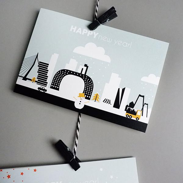 Kerstkaart Rotterdam ANNIdesign oker geel 01