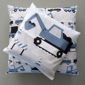 Kussen Voertuigen Graafmachine ANNIdesign jeans blauw 01
