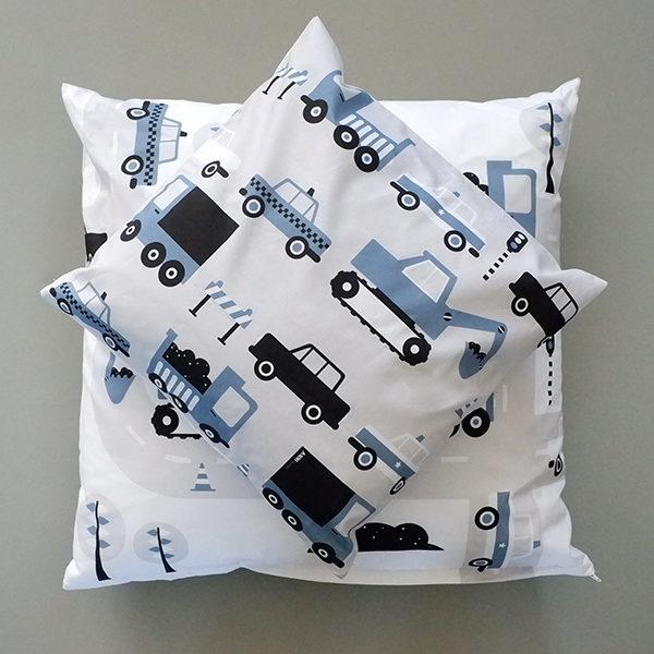 Kussen Voertuigen Graafmachine ANNIdesign jeans blauw 02