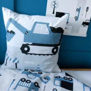 Sierkussen Voertuigen Graafmachine ANNIdesign jeans blauw 03