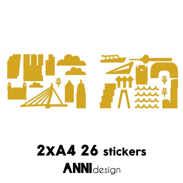 Muurstickers Rotterdam oker geel_ANNIdesign_02