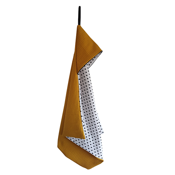 Omslagdoek Stip op Wit met Wafelstof oker ANNIdesign S01