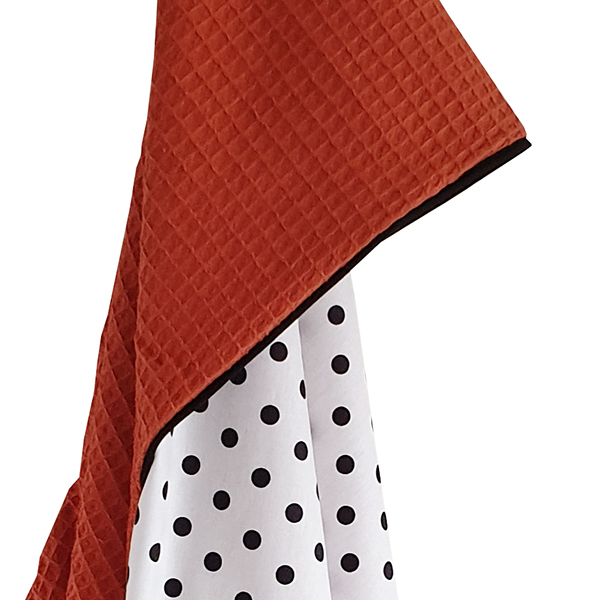 Omslagdoek Stip op Wit met Wafelstof terracotta rood ANNIdesign S02 copy